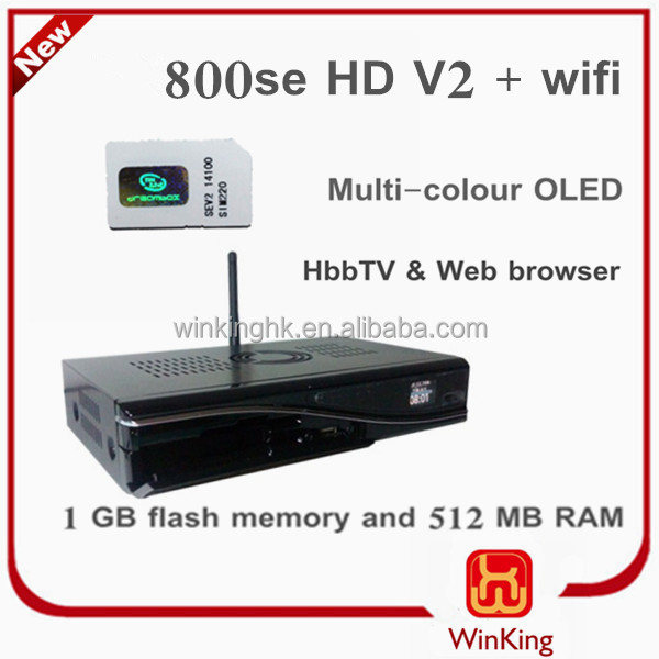 TV BOX sunray800se hd V2 WIFI Decoder DVB800hd se wifi V2 set top box Linux for Europe !!!