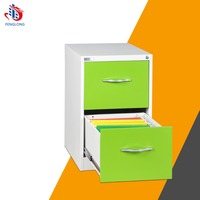 Green outer handle colorful 2 drawer file cabinet office hanging design metal pedestal drawer cabinet