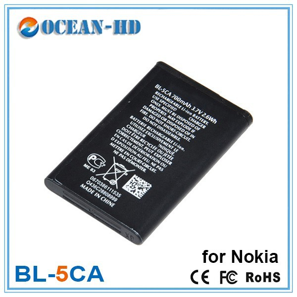Long standby time mobile phone battery for nokia bl-5ca 3.7v 700mah