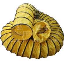 PVC vinyl coated polyester fabric flexible duct, high temperature resistant plastic spiral ducting