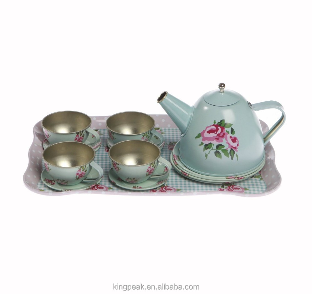 2015 Childrens Vintage Style Tin Picnic Hamper Tea Set/unbreakable tea set/Children Pretend Tea Set/Kids Toy