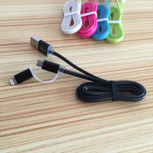 wholesale high speed 2 in 1 two side EL usb cable For Samsung Galaxy for Apple iPhone 7 7Plus 6 6S