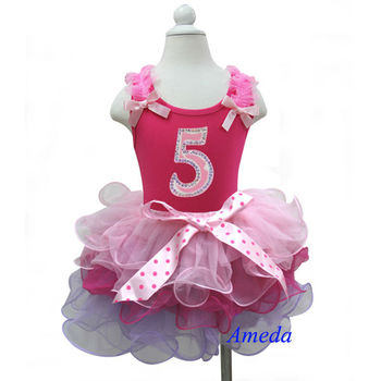 Girls Birthday Outfits - Sleeveless Shirt Tank Top with Number 5 & Pink Tutu Mini Skirt