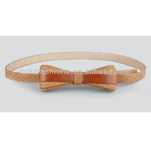 fake designer skinny bow belts with pu leather