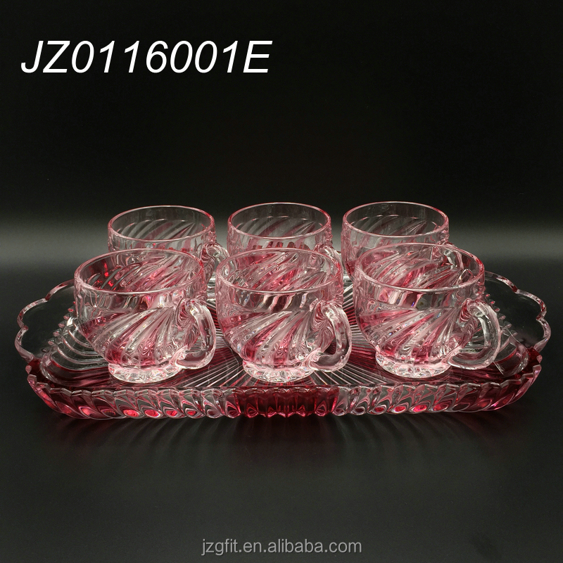 Hot sale factory price customsized glass tea set, glass tea cup, tea glassware for home and hotel