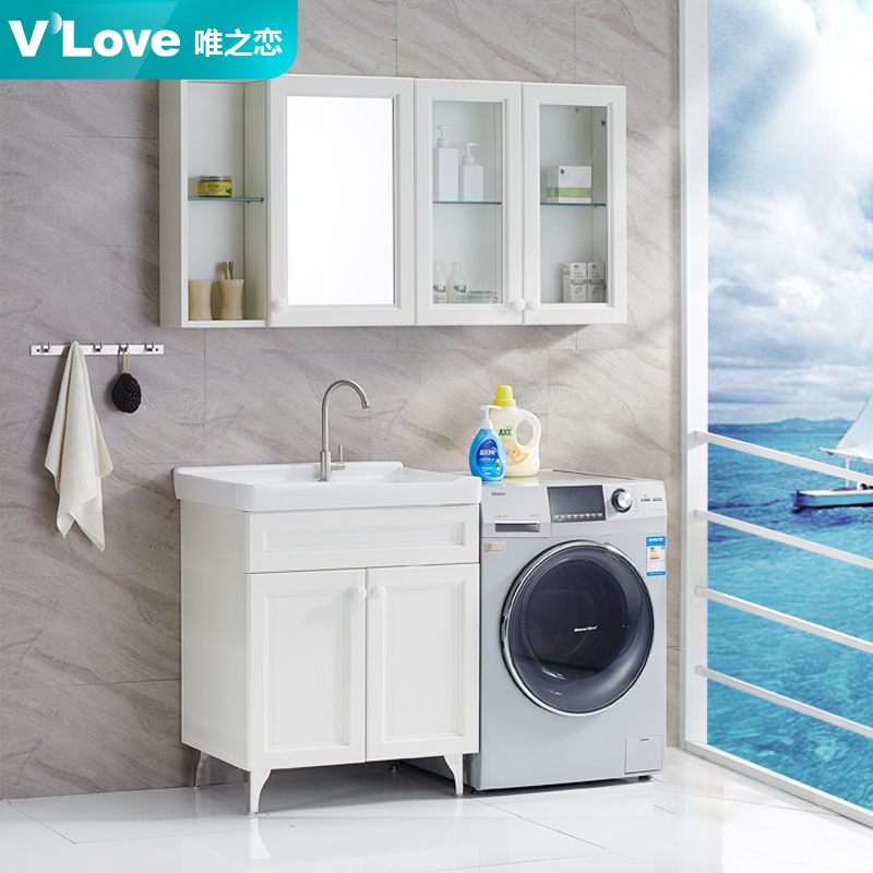 Fashion cheap price stainless steel washing machine cabinet/ laundry sink cabinet combo with mirror cabinet