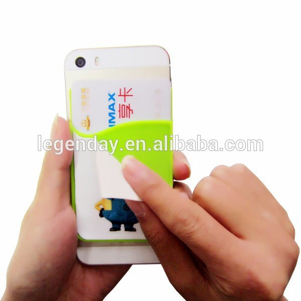 High quality silicone card holder with mobile phone cleaner, 3m adhesive silicone smart card pocket