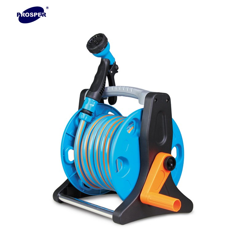 Durable plastic wall mounted garden watering hose reel with 10m hose