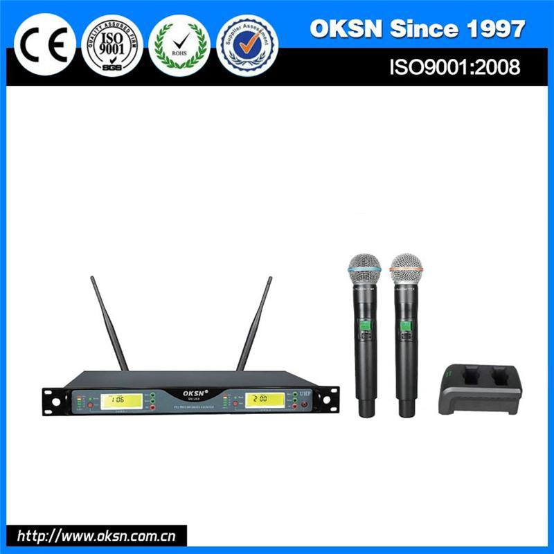 vocal microphone UHF dual channel system outdoor speaker with wireless mic