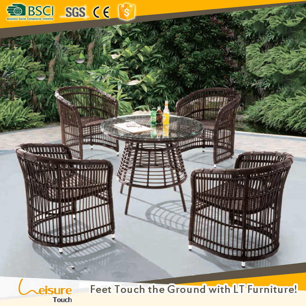 Angelina Outdoor Home furniture hot sale wicker Rattan Cane Garden Plastic Design Dining Set