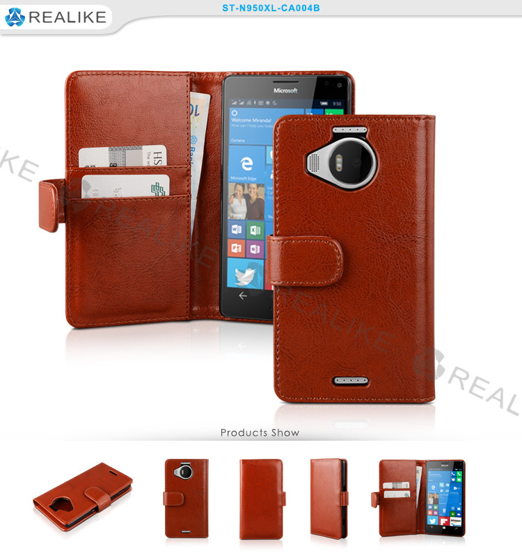 Top selling products 2016 real leather flip case for Microsoft Lumia 950 XL, wallet phone case for Nokia Lumia 950 XL