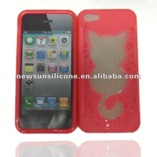 TPU +PC with cat design case for iphone 5