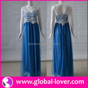 New arrival blue chiffon strap female gown dresses