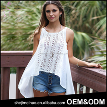 New Fashion Elegant White Color Crochet Sexy Women Net Tops