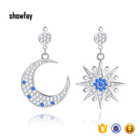 374 Sun And Moon Trendy Silver Dangle Earring Wholesale