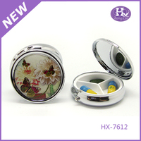 HX-7612 Flower 3D picture promotional metal pill box