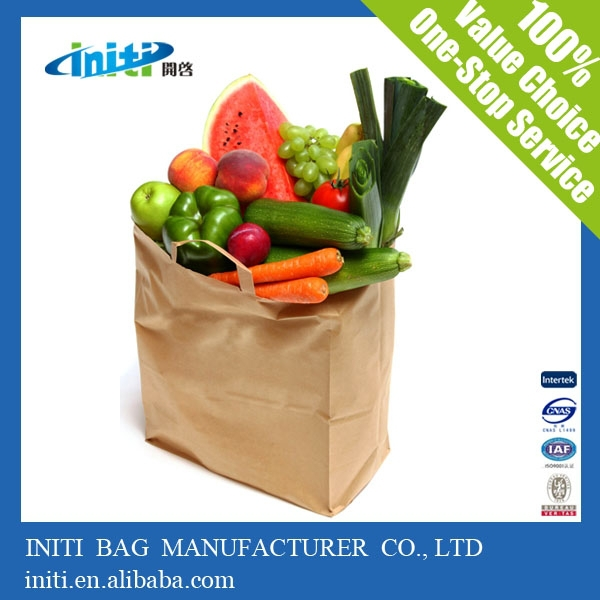 China wholesale plain recycled paper bags/ vegetable paper carrier bags