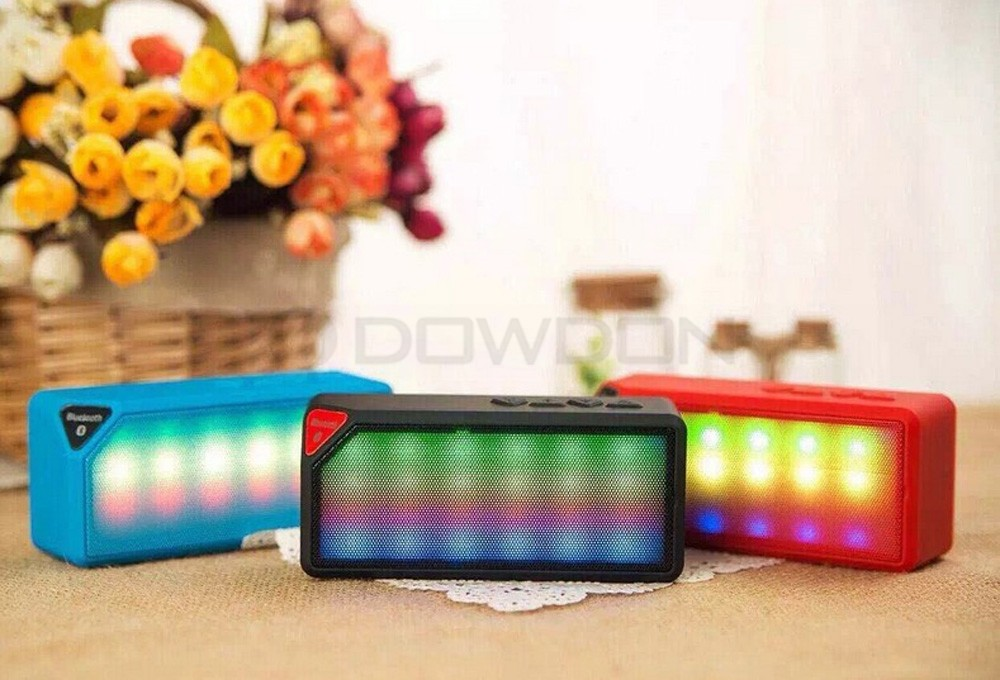 Mini Multi-Color Flash LED Light Wireless Bluetooth Speaker with Built-in Microphone Support USB AUX FM Radio