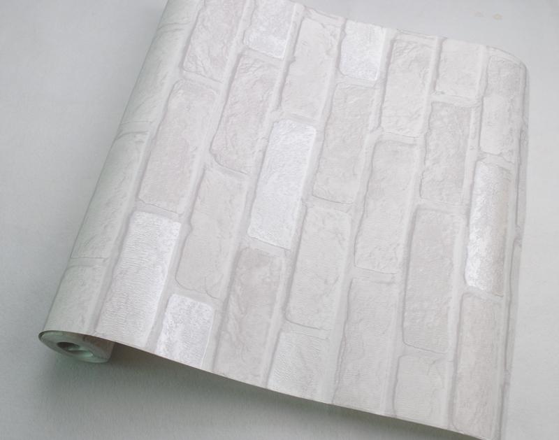 Diepe reliëf grijs en wit faux baksteen effect behang-Wallpapers ...