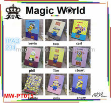 cute despicable me 2 leather case for ipad 4