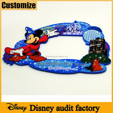 Social compliant Disney audit factory Souvenirs gifts 2D silicone rubber pvc custom magnet photo frame