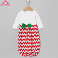 Christmas Boutique Girl Dress Red & White Chevron Newborn Infant Baby Layette Gown With Green Bow