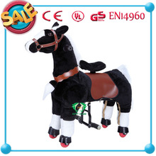 Plush mechanical kiddie ride on horse scooter pony riding toy