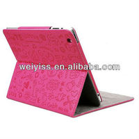 Triline Rose Pink Cute Lovely Girl Stand Genuine Leather Case Cover For iPad Mini