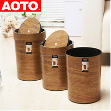Standing Round Imitation Wood Plastic Trash Cans