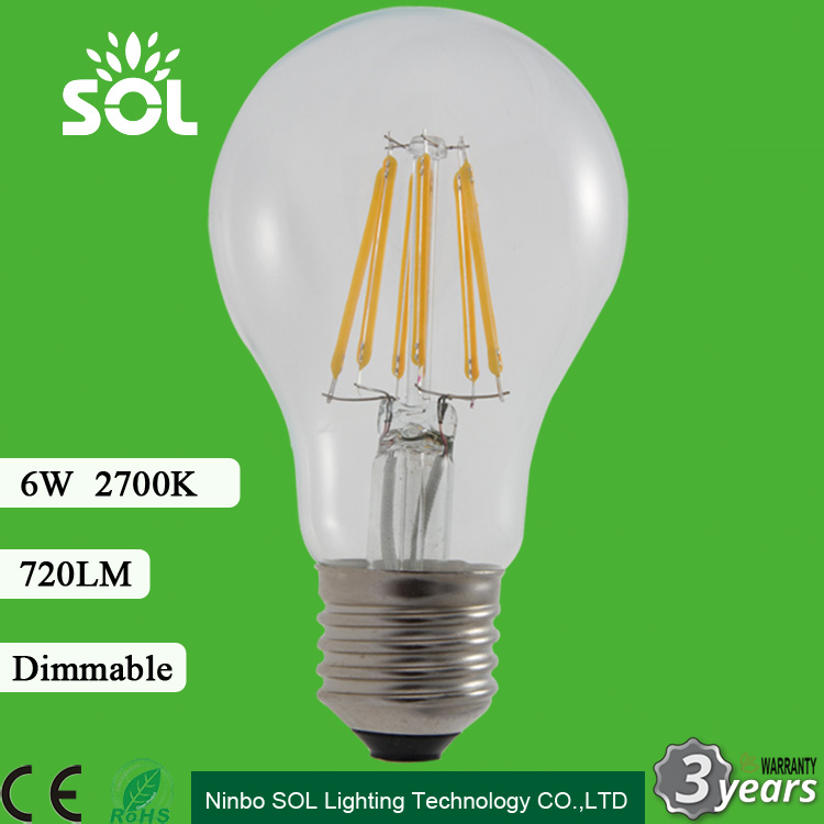 2016 best price clear glass A60 6W 720lm E27 B22 Dimmable LED Filament Lamp