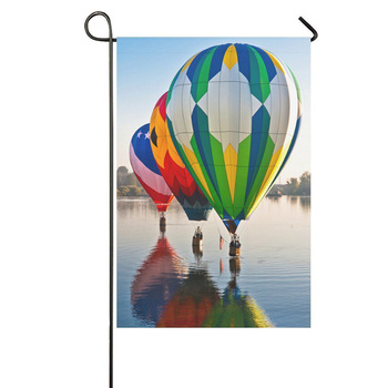 Fashion Custom Garden Flag Hot Air Balloons on Lake Garden Flag 12x18 IN Without Flagpole Outdoor Celebrating Holidays Decor