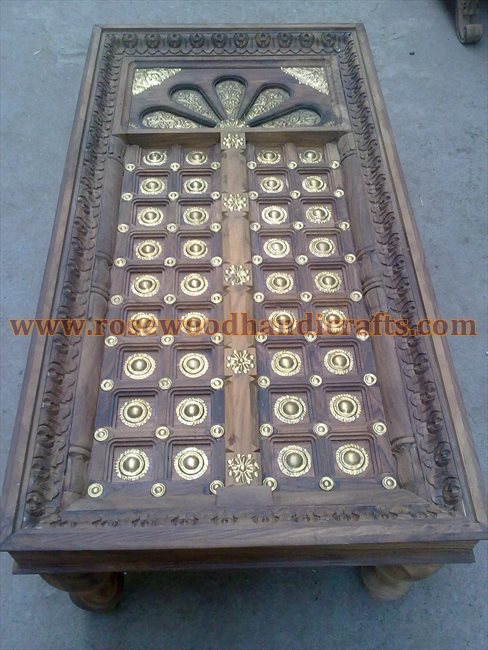 Wooden Door Shape Coffee Table With Brass Inlay Work / Rosewood Door Shape Coffee Table / Wooden Carved Door Shape Coffee Table