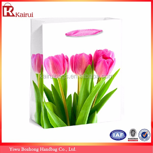 Wholesale Flower Printed Recycle Square Bottom Paper Gift Bag