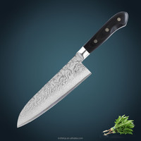 "kitchen knife 7"" Japanese VG10 Damascus steel santoku knife with forged Pakka wood handle Steel"