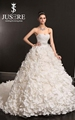 Super Amazing Rosette Appliqued Ruffled Taffeta Luxury Wedding Dresses