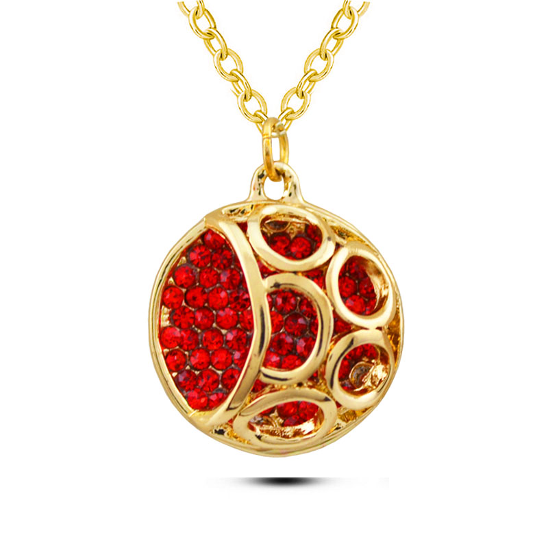 <strong>N150</strong> Round Rhinestone Necklace Yellow And Rose Gold Plated Jewellery Necklace Allergy Free 2017 Women Necklace Pendant