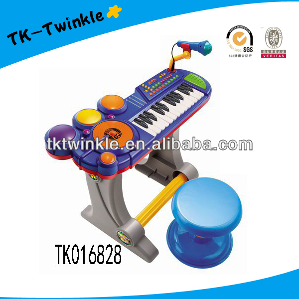 Electronic organ keyboard with microphone musical toy