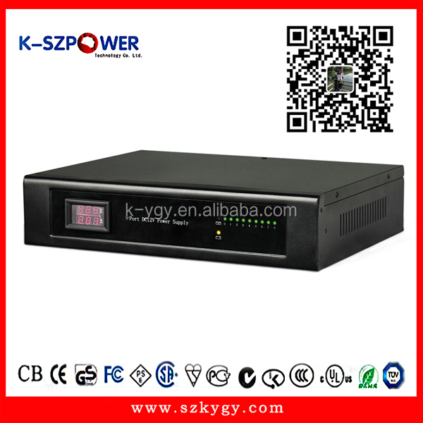 Rack mount Multiple outputs 9ch cctv power supply 12V 10A 120W Power box for CCTV camera