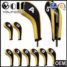 10pcs/set Yellow Neoprene Zippered Golf Head Covers Set for Irons