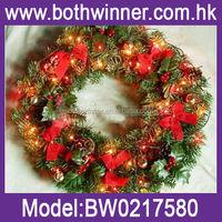 fiber optic christmas wreath , 50cm christmas door artificial garland H0T052