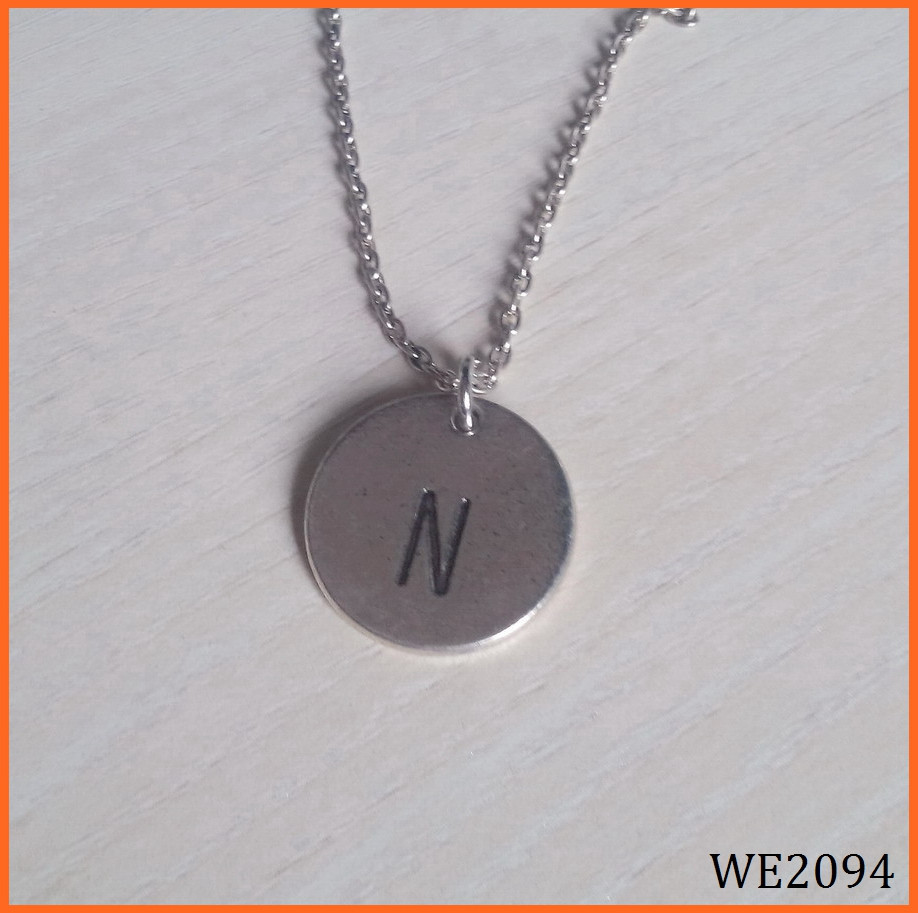 Small Script Initial Necklace Silver Initial Disc Alphabet Pendant Necklace