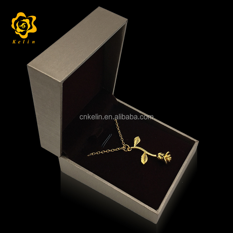 Cangnan Kelin offer Gold Rose <strong>necklace</strong> with rose shaped pendant and nice gift box