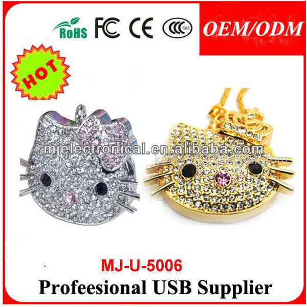 Full Capacity Jewelry hello kitty head Usb 2.0 Memory Stick Thumb Crystal Pendrive Gold