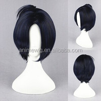 High Quality 35cm Short Straight Katekyo Hitman Reborn-Rokudo mukuro Blue&Black Synthetic Anime Wig Cosplay Hair Wig Party Wig