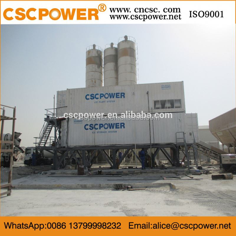 flake ice plant and ice storage system for concrete cooling