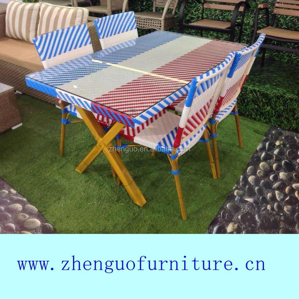 Colorful dining set rattan outdoor brushing protective paint table legs garden dining furniture