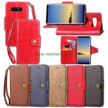 High quality book style leather wallet phone case for samsung note 8
