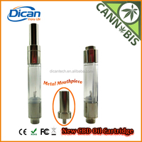 2016 DICAN New O pen cartridge 1.0ml tank atomizer 510 vape metal drip tip cbd vaporizer empty