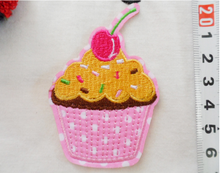 Fruit Cherry IceCream Iron On Patch Embroidered badge, Cherry pink IceCream Sew On Patch Embroidered Sew Craft Applique