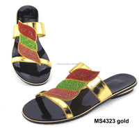 MS4323 Gold african design shoe design style gold made in China flat women shoe